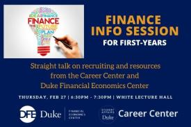Finance Info Session for First-years February 27