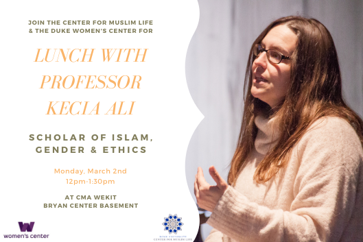 "split image of white woman with glasses and long brown hair in chunky white sweather gesticulating while speaking with text that reads ""Join the center for muslim life for lunch with professor kecia ali, scholar of islam, gender and ethics, monday march 2nd 12pm-1:30pm at the center for muslim life"""