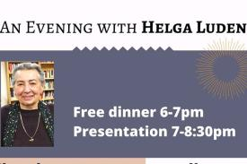 Flyer for event; dinner 6-7 p.m., talk 7-8:30 p.m.