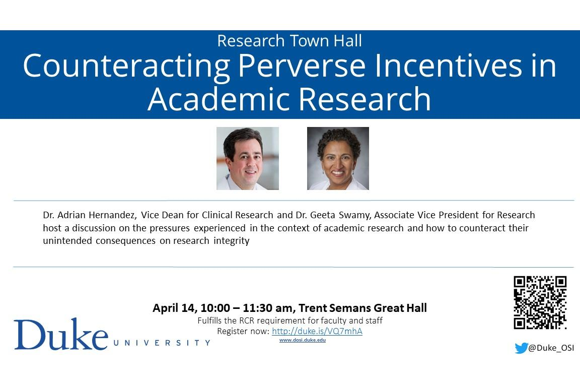 flyer town hall Perverse Incentives featuring Dr. Swamy and Dr. Hernandez