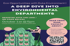 Hear from Duke faculty about environmental majors and majors, certificate programs, and opportunities like the Marine Lab and Stanback Fellowship!