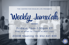 blurry black and white photo of people sitting on the ground and listening to a sermon, text atop image reads Weekly Jumu'ah Fridays 1-1:30pm ET stay on after to check in and chat!
