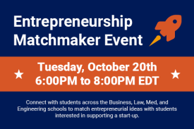 Entrepreneurship matchmaker event Tuesday October 20th 6pm to 8pm
