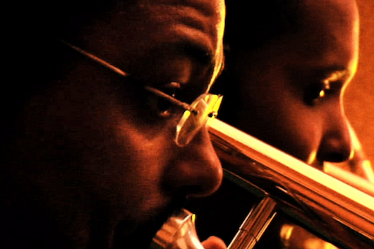 Two trumpet players, a film still from One Night in Kernersville