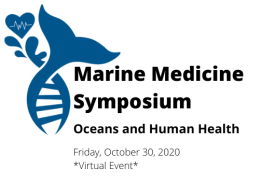 Marine Medicine symposium logo with whale tail fluke and heart with EKG line