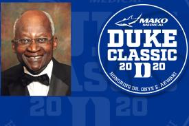 Image of Dr. Onye E. Akawari with text Mako Medical Duke Classic