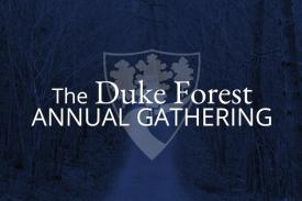 The Duke Forest Annual Gathering white text and shield logo