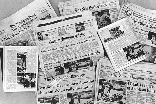 National newspaper headlines about 1979 Greensboro Massacre