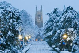 Duke Chapel in the snow