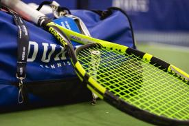 Duke tennis duffel bag and racket