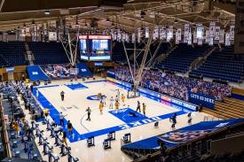 Basketball game in Cameron during COVID