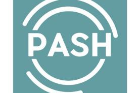 Light Blue with white spiral that says PASH