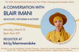 Picture ID: A flyer with a tan background. In the middle of the flyer is a yellow curved line which meets a blue circle. In the circle contains a picture of Blair Imani, a Black, Bisexual Muslim woman who is adorned in mustard colored clothing, a similarly colored hijab, and a dark orangish-brown wide-brimmed hat. The text on the flyer includes event details outlined in the program description. End ID.